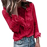 IHGWE T-Shirt Damen Blumenspitze Rundhals Knopf Langarm T Shirt Oberteil Elegant Tunika Blusen Solide