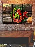 QWASD Leinwanddruck Bilder-50X70 cm X3(150X70Cm)-3 Teile Leinwand-Bild Herbstblumen Vlies Wandbild Kunstdruck Wohnzimmer Wanddekor Wandkunst Geschenk