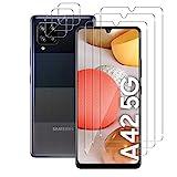 Aerku Panzerglas Displayschutzfolie für Samsung Galaxy A42 5G [3Stück] + Kamera Panzerglas Schutzfolie [3Stück], 9H HD Anti-Kratzer Folie Ultra Glatte Film Displayschutzfolie-Transp