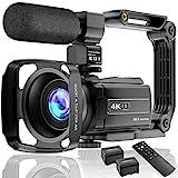4K Videokamera Camcorder UHD 48MP Wi-Fi IR Nachtsicht 16X Digital Zoom Recorder 3,0'IPS Touchscreen Vlog Kamera für YouTube mit Mikrofon Handstabilisator Gegenlichtblende, 2 Batterien