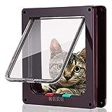 Smilelove Katzenklappe Hundeklappe 4 Wege Magnet-Verschluss für Katzen, große Hunde Hundetür Katzentür Haustierklappe, Installieren Leicht mit Teleskoprahmen (19x20x5.5CM,M-Braun)