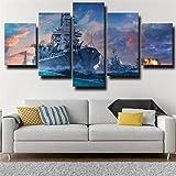 ZHRMGHG Print Canvas 5 Teilig Kriegsschiff Im Seekrieg Leinwand Art Wandgemälde Für Home Wohnzimmer Büro Trendig Eingerichtet Dekoration Geschenk (Mit Rahmen)