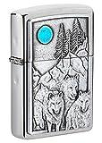 Zippo Unisex-Erwachsene and Moon Emblem Brushed Pocket Lighter Feuerzeug, Gebürstetes Chrom Wolf Pack und Mond, Einheitsgröße