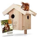 wildtier herz   Eichhörnchen Kobel – Nest für Eichhörnchen aus verschraubtem Massiv-Holz, Eichhörnchenhaus und Nistkasten zum Hängen für den G