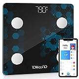 YOHOOLYO Personenwaage / Körperwaage, digital, Bluetooth, 14 Messungen mit Smart-App für Fitness kg/ST