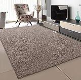 SANAT Teppich Wohnzimmer - Beige Hochflor Langflor Teppiche Modern, Größe: 160x230 cm