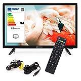 RED OPTICUM LED Fernseher 24 Zoll (61cm) LE-24Z1S inkl. KFZ Adapter - Full HD Camping Fernseher 12V / 230V Betrieb mit Triple Tuner (DVB-C/-S2/-T2) CI+ Steckplatz USB 2.0 HDMI PVR-Funktion SCR