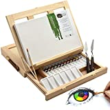 Artina 19-teiliges Malset Milano Malkoffer - Set mit integrierter Tischstaffelei & Keilrahmen Acrylfarbe Pinsel Palette Spachtel