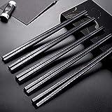 Annvchi EssStäbchen 10 Paar - Japanische Chopsticks Schwarz Stäbchen für Asiatisches G