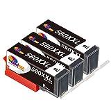 Clorisun PGI 580 XXL Schwarz Druckerpatronen für Canon PGI580 XXL PGBK Multipack für Canon pixma TR8550 TR7550 TS705 TS6150 TS6151 TS6250 TS6251 TS6350 TS6351 TS9550 TS9551C TS8350 TS8351 (3er Pack)