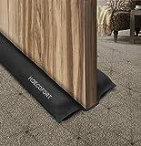 HOECOFORT Zwillings-Tür-Zugluftstopper, 91,4 cm, maschinenwaschbar, alle Arten von Boden- und Wetterabisolierung, Geräuschblocker, Schw