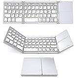 Kabellose dreifach faltbare Tastatur funktioniert mit Bluetooth Mini Laptop Büro ultradünne tragbare Tastatur mit Touchpad für iOS, Android, Windows (weiß)