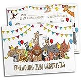 12x Einladungskarten für Kindergeburtstag   Safari-Tiere   Für Jungen & Mädchen   Einladungskarten Geburtstag Kinder Junge Zoo   Partyeinladungen Jungs Mitgebsel Löwe bunt Geburtstagseinladungen