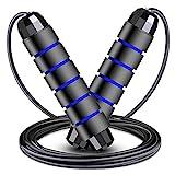 Springseil für Erwachsene – Fitness-Springseil mit Kugellagern, für Damen, Herren und Kinder, verstellbares Stahl-Springseil mit Schaumstoff-Griffen für Heim-Fitness (blau)