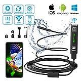Yaasier Endoskopkamera WiFi USB Endoskop Inspektionskamera 8mm Halbsteife Kabel 2.0 Megapixels 1200P HD IP68 Wasserdicht mit Licht für für Android,IOS,iPhone,Samsung,Windows,Laptop