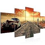 Runa Art - Bilder Auto Route 66 200 x 100 cm 5 Teilig XXL Wanddekoration Design Orange Beige 600351a