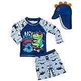 Kinder Junge Bademode Zweiteiliger Badeanzug UV-Schutz Bade-Set Langarm T-Shirt Badeshorts mit Badekappe XL