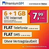 PremiumSIM Handyvertrag LTE L - ohne Vertragslaufzeit (Flat Internet 7 GB LTE mit max. 50 MBit/s mit deaktivierbarer Datenautomatik, Flat Telefonie, Flat SMS und EU-Ausland, 7,99 Euro/Monat)
