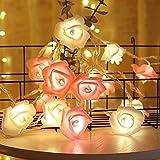 solawill LED Lichterkette Rosen, Rose Lamp Simulation Rosenblütenkette 3M 20LED Lichterketten Blumen Batteriebetriebene Beleuchtung Deko für Garten Party Weihnachten Hochzeit Valentinstag