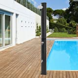 ECD Germany Solardusche 35 L 217 cm mit Fußdusche und Regenduschkopf, Schwarz, warmes Wasser bis 60°C ohne Strom, mit Gartenschlauch-Anschluss, Solar Gartendusche Außendusche Pooldusche Regendusche