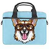 Lurnies Corgi Dog Blue Computertasche Einzigartig gedruckt Kompatibel mit 13-13,3 Zoll MacBook Pro, MacBook Air® Notebook 28x36.8x3 cm