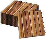 Hengda Holzfliesen 55-er Kachel Set,5m², geeignet als Terrassenfliesen und Balkonfliesen, aus Akazien Holz, 30x30 cm, für Garten Terrasse Balk