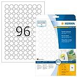 HERMA 4386 Universal Etiketten DIN A4 ablösbar (Ø 20 mm, 25 Blatt, Papier, matt, rund) selbstklebend, bedruckbar, abziehbare und wieder haftende Adressaufkleber, 2.400 Klebeetiketten, weiß