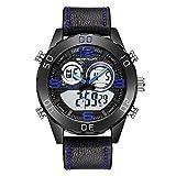 Herrenuhr, wasserdichte Outdoor-Uhren mit Lederarmband, elektronische Jugenduhren mit doppeltem Display, runde 47-mm-Business-Freizeituhr mit großem Zifferblatt, militärische analoge Armbanduhr