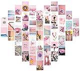 Collage Druckset, Wandcollage, Fotocollage, Fotocollage, ästhetisch, ästhetische Bilder für Schlafzimmerwände – 50 Stück – Rosa