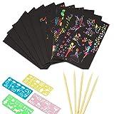 kratzbilder für kinder kratzbilder, 50 Stück Regenbogen Magie Kratz Zeichenpapier, Kratzzeichnung Zeichnung Graffiti-S