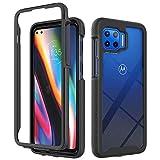 FHXD Kompatibel mit Motorola Moto G 5G Plus Hülle 360 Vollschutz Handyhülle [Displayschutzfolie] Stoßfest Durchsichtig Hard PC und Weich Silikon TPU 2 in 1 Schutzhülle-Schwarz