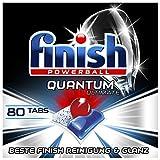Finish Quantum Ultimate Spülmaschinentabs – Geschirrspültabs mit 3-fach Wirkung – Kraftvolle Reinigung, Fettlösekraft und Glanz – Sparpack mit 80 Finish Tabs