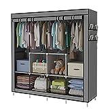 YAYI Tragbare Garderobe Kleidung Garderobe Regale Kleidung Lagerung Organizer Mit 4 Kleiderstangen,Grau