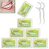 Zahnseide Stick 7-Pack (350 Stück), mit Tragbarem Reiseetui und Zahnstocher, für Zahnreinigung Zwischenräume, Zahnpflege