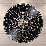 Vinyl-Wanduhr, Sternzeichen-Motiv, Wanduhr, Astrologie-Sterne, dekorative Wanduhr, Sternzeichen-Geschenk