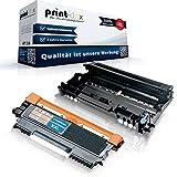 Print-Klex Tonerkartusche & Trommel kompatibel für Brother TN2010 & DR2200 DCP 7055 DCP 7055 W DCP 7057 TN-2010 TN 2010 DR-2200 DR 2200 Farblos Schwarz - Office Plus Serie