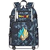 ZZGOO-LL Dragon Ball Son Goku/Vegeta IV/Torankusu Anime Cosplay Bookbag College Tasche Rucksack Schultasche mit USB-Ladeanschluss-F