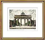 Kunstverlag Christoph Falk Handkolorierte Radierung Berlin, Brandenburger Tor mit Siegessäule im Rahmen Goldkehle hinter Passepartout