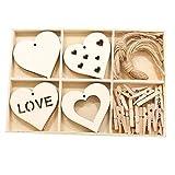 DIY Holzscheiben Holzherzen Ornamente Set Holzkiste Mit Herzscheiben Clips Und Schnur Für DIY Valentinstag Hängen Dek