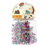 GLOGLOW 500 Stück Perlen Nähen gerade Quilten Pins in Orange Stoff bedeckt Pin Kissen Flasche für Schneiderei Schmuck Komponenten Blume Dekoration
