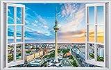 Berlin Stadt Skyline City Wandtattoo Wandsticker Wandaufkleber F0278 Größe 40 cm x 60