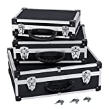 3-in-1 Alukoffer Aluminium Rahmen Koffer Allround Werkzeugkoffer-Set - schwarz