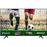 58' Hisense 4K HDR Ultra HD-Fernseher, DTS-Sound, DLED-Hintergrundbeleuchtung, Panel-Bittiefe 8 Bit + FRC, Eingangsverzögerung