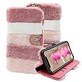 LCHDA Kompatibel mit Samsung Galaxy A32 5G Plüsch Hülle, Falsch Kaninchenfell PU Leder Tasche Flip Ständer Geldbörse Winter Wärm Flauschige Pelzig Brieftasche Schutzhülle für Damen - Collage Rosa
