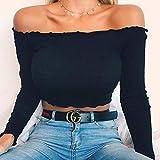 SYXMSM Damenbekleidung Art Und Weise Frauen-beiläufige Schulterfrei Tank Top Bluse Damen Sommer Sexualität Hülsen-Oberseiten Crop Kurzschluss-Hemd Damenbekleidung Tops (Color : Black, Size : Large)