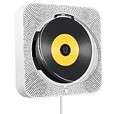 CD Player Bluetooth,an der Wand montierbaren eingebauten HiFi-Lautsprechern, Heim-Audio-Lautsprecher mit Fernbedienung FM-Radio USB MP3, AUX-EIN / Ausgang der 3,5mm-Kopfhörerbuchse,Weiß