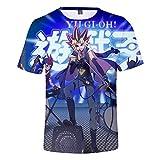 Yu-Gi-Oh Pullover Kinder-Rundhalsausschnitt-Shirt Kurzarm T-Shirt Digital-gedrucktes Sommer-Tops Stilvolle Blusen Junge und Mädchen (Color : A02, Size : Height-130cm(Tag 130))