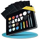 B BY C – Premium Kinderschminke Set – 14 Bodypainting Farben – Theaterschminke wasserlöslich & hautverträglich – 30 Schablonen, Schminktipps