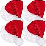 SATINIOR 4 Packungen Santa Hut, Unisex Samt Weihnachten Mütze mit Komfort Futterund Plüsch Krempe Weihnachtsmann Mütze für Party Neujahr Weihnachten (Rot, Erwachsenen Größe)