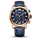 MEGIR Armbanduhr für Herren, modisch, Lederband, analog, Militär, Sport, Quarz, Herrenuhr mit Chronograph und Kalenderanzeige Rose B